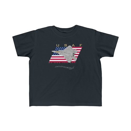F-22 USAF WE OWN THE SKY Kid's Short Sleeve T-Shirt