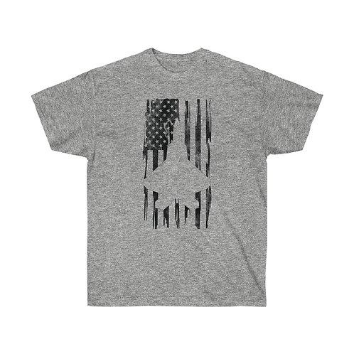 DISTRESSED BLACK PRINT F-22 US FLAG Heavyweight T-shirt