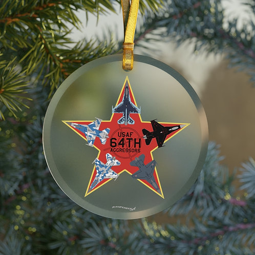 UNOFFICIAL 64TH AGRS F-16 STAR CHRISTMAS TREE Glass Ornament