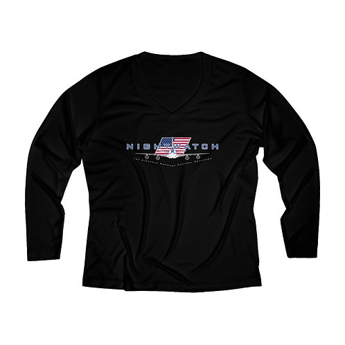 E-4 NIGHTWATCH 1ACCS USA Women's Long Sleeve Performance V-neck Tee