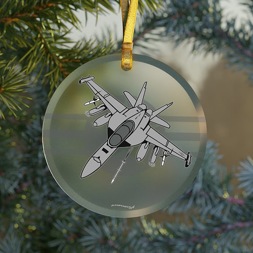 EA-18G GROWLER ROUNDEL CHRISTMAS TREE Glass Ornament