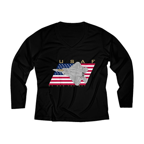 F-22 USAF WE OWN THE SKY Women's Long Sleeve Performance V-neck Tee