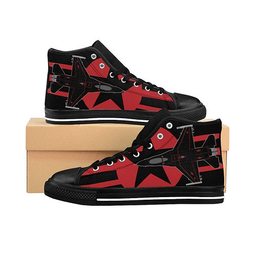F-16C WRAITH AGGRESSOR RED STAR AND BARS ROUNDEL Men's High-top Sneakers