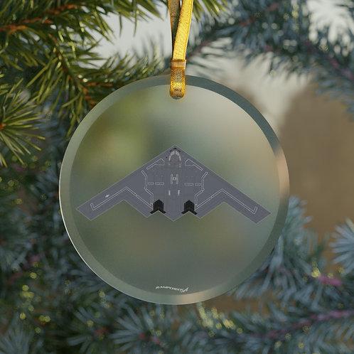 B-2A SPIRIT CHRISTMAS TREE Glass Ornament