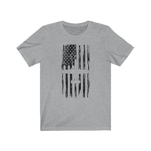 DISTRESSED BLACK PRINT A-10 US FLAG Lightweight T-shirt