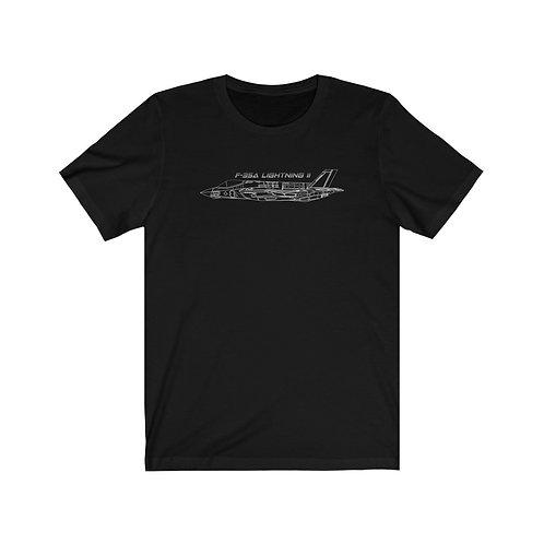 F-35A LIGHTNING II WHITE OUTLINE Unisex Short Sleeve T-shirt