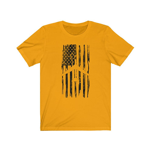 DISTRESSED BLACK PRINT B-52 US FLAG Lightweight T-shirt