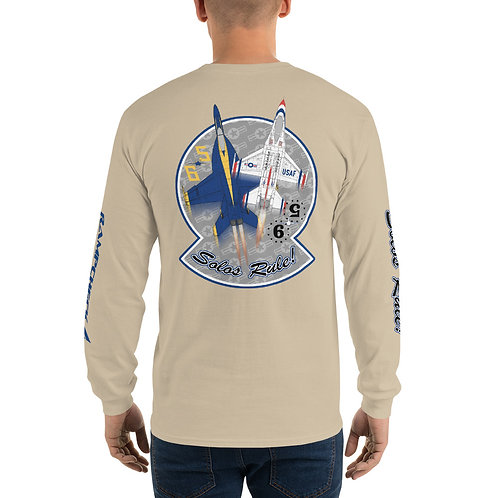 UNOFFICIAL USN BLUE ANGELS USAF THUNDERBIRDS SOLOS RULE! USA HW L-Sleeve T-shirt