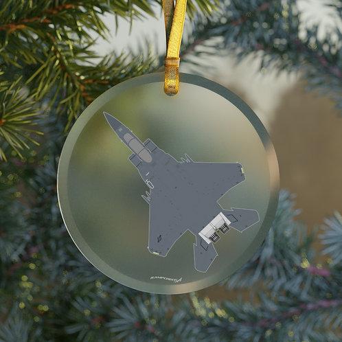 F-15E STRIKE EAGLE CHRISTMAS TREE Glass Ornament