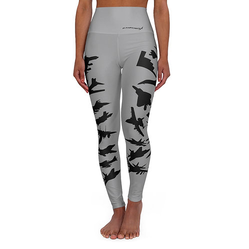 US MILITARY COMBAT AIRCRAFT FORMATION Gray High Waisted Yoga Leggings