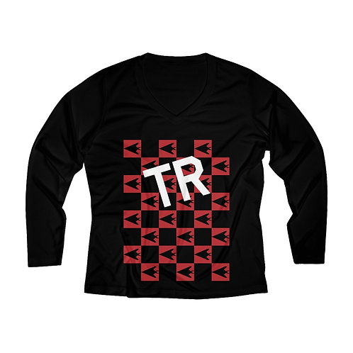 F-117 NIGHTHAWK CHECKERBOARD TR Women's Long Sleeve Performance V-neck Tee