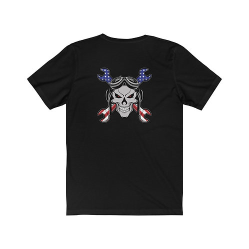 USA SKULL AND CROSS WRENCHES MX BACK PRINT Unisex Short Sleeve T-Shirt