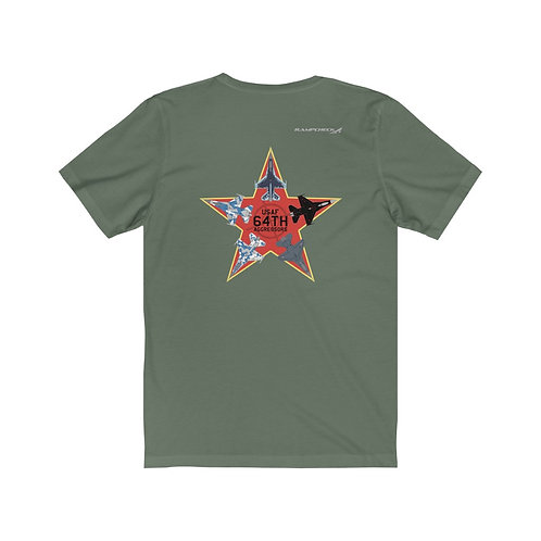 UNOFFICIAL 64TH AGGRESSORS F-16 RED STAR F/B PRINT Unisex Short Sleeve T-Shirt