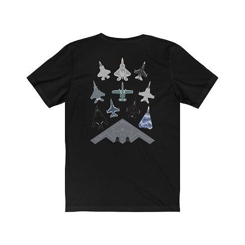 US MILITARY AIRCRAFT MASS FORMATION BACK PRINT Unisex Short Sleeve T-Shirt