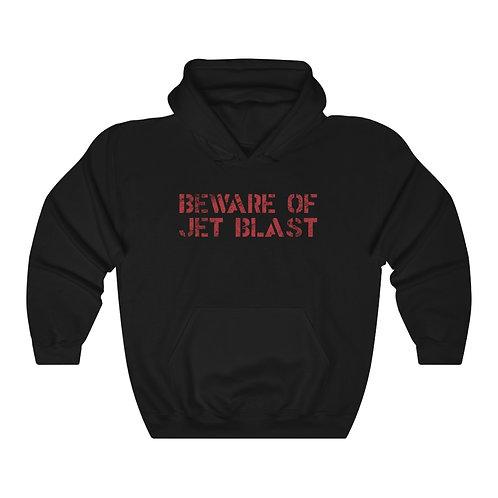 BEWARE OF JET BLAST RED DISTRESSED PRINT Unisex Hoodie