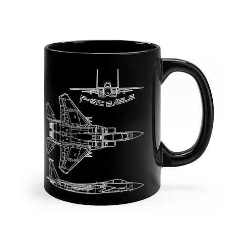 F-15C EAGLE 3 VIEW Black mug 11oz