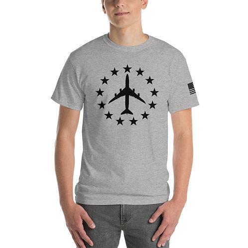 747-8 FREEDOM STARS BLACK PRINT Heavyweight T-shirt