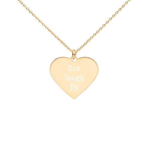live laugh fly Engraved Silver Heart Necklace