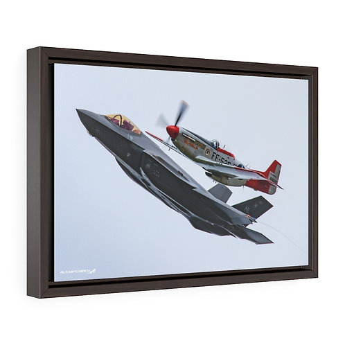 F-35A P-51D HERITAGE FLIGHT HILL AFB, UTAH Framed Premium Gallery Wrap Canvas