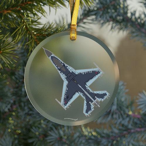 F-16 GHOST AGGRESSOR CHRISTMAS TREE Glass Ornament