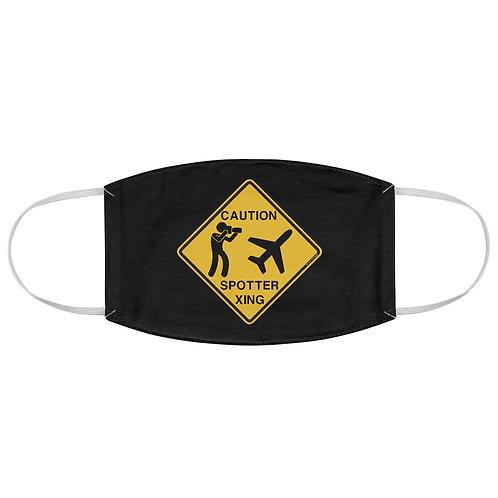 CAUTION SPOTTER CROSSING SIGN Fabric Face Mask