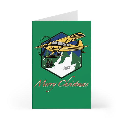 MOUNTAIN FLYING BUSH SKI PLANE MERRY CHRISTMAS TREES Greeting Cards (7 pcs)
