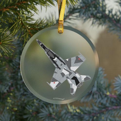 F/A-18 HORNET SPLINTER CAMO CHRISTMAS TREE Glass Ornament