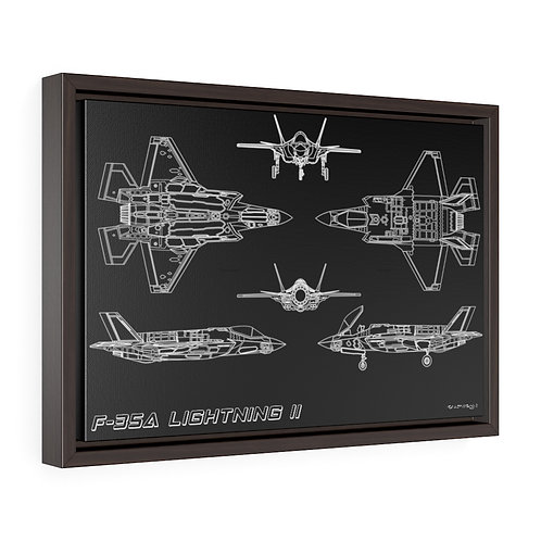 F-35A LIGHTNING II TECHNICAL DRAWING Framed Premium Gallery Wrap Canvas