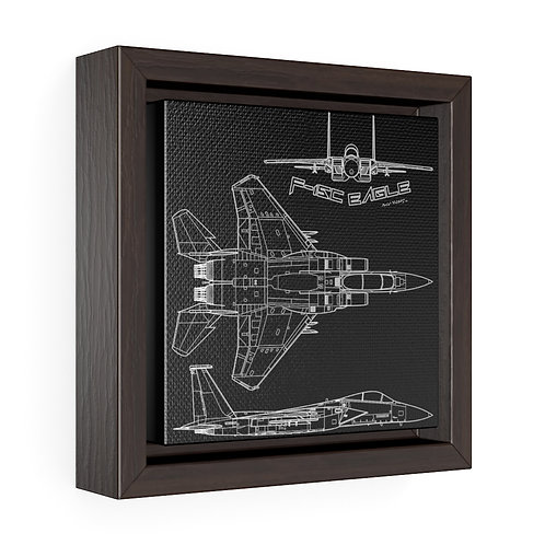 F-15C EAGLE 3 VIEW Square Framed Premium Gallery Canvas