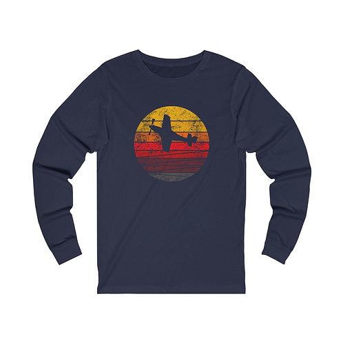 P-51 DISTRESSED RETRO SUNSET Unisex Long Sleeve T-Shirt