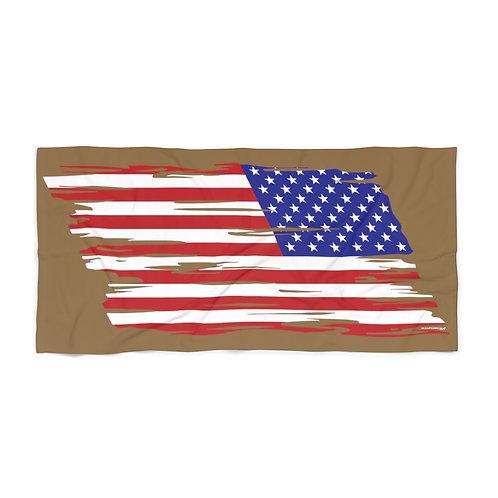 HUGE 3X6 LEFT FACING OR VERTICAL US FLAG COYOTE BROWN Beach Towel