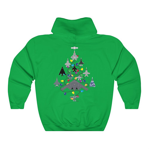 US MILITARY COMBAT AIRCRAFT CHRISTMAS TREE BACK PRINT Unisex Heavy Blend Hoodie