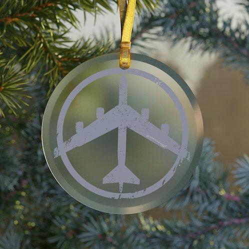B-52 PEACE THROUGH STRENGTH CHRISTMAS TREE Glass Ornament