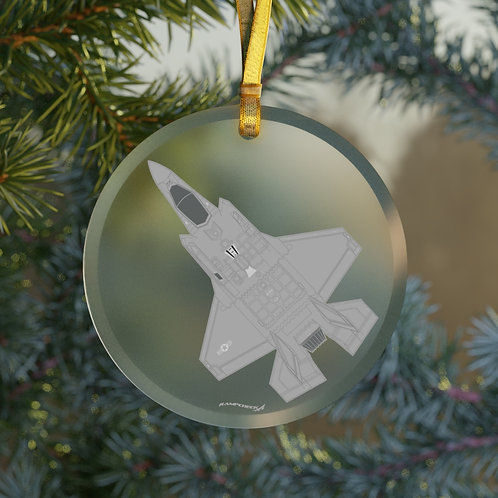 F-35A LIGHTNING II CHRISTMAS TREE Glass Ornament