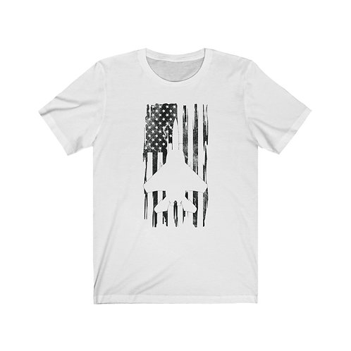 DISTRESSED BLACK PRINT F-15 US FLAG Lightweight T-shirt