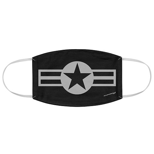 GRAY USAF STAR AND STRIPES ROUNDEL Fabric Face Mask