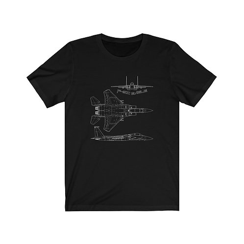 F-15C EAGLE WHITE 3 VIEW TECHNICAL DRAWING Unisex Short Sleeve T-Shirt