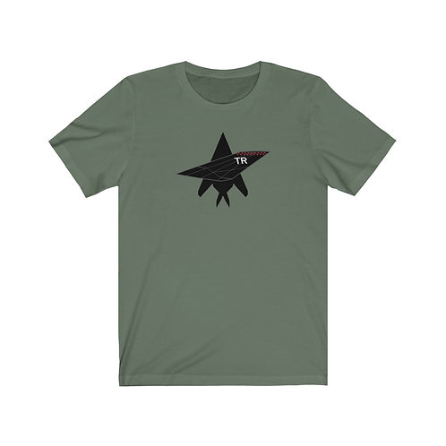 F-117A NIGHTHAWK TR TAIL TOP SILHOUETTE FRONT PRINT Unisex Short Sleeve T-Shirt