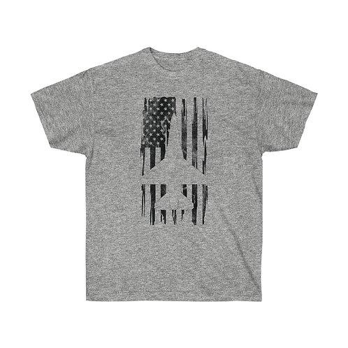 DISTRESSED BLACK PRINT F-16 US FLAG Heavyweight T-shirt