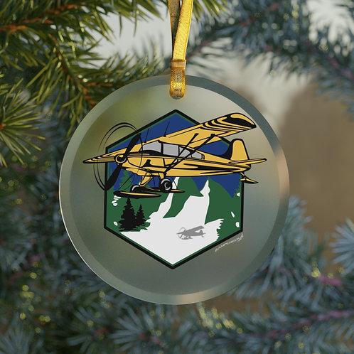 MOUNTAIN FLYING BUSH PLANE ON SKIIS CHRISTMAS TREE Glass Ornament