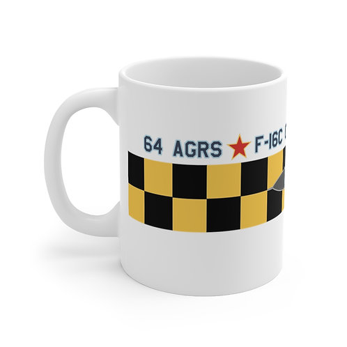 UNOFFICIAL 64 AGRS F-16C GHOST CHECKERBOARD Mug 11oz