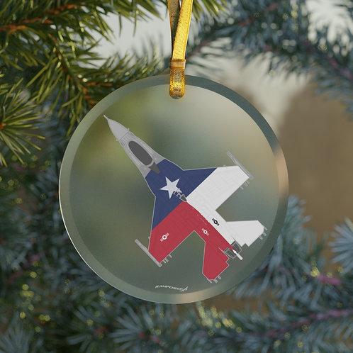 F-16 TEXAS ANNIVERSARY CHRISTMAS TREE Glass Ornament