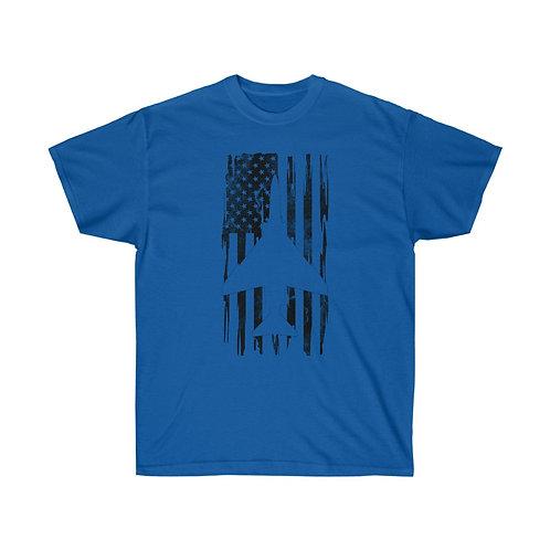 DISTRESSED BLACK PRINT F-4 US FLAG Heavyweight T-shirt