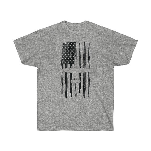 DISTRESSED BLACK PRINT A-10 US FLAG Heavyweight T-shirt