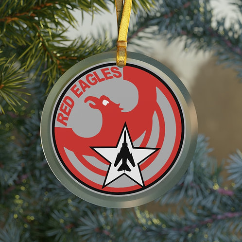 UNOFFICIAL RED EAGLES MIG-23 CHRISTMAS TREE Glass Ornament