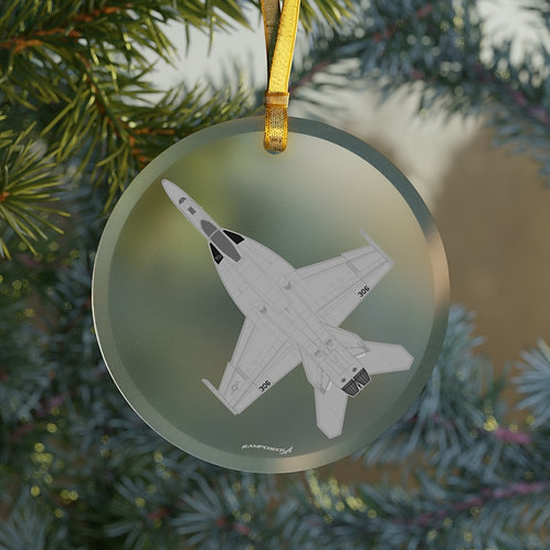 F/A-18E SUPER HORNET CHRISTMAS TREE Glass Ornament