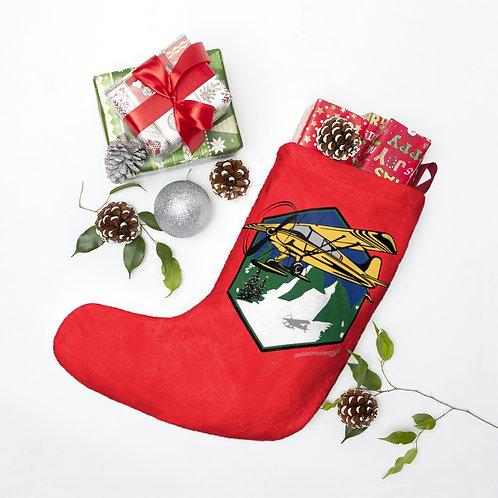 MOUNTAIN FLYING BUSH SKI PLANE MERRY CHRISTMAS TREES Christmas Stockings