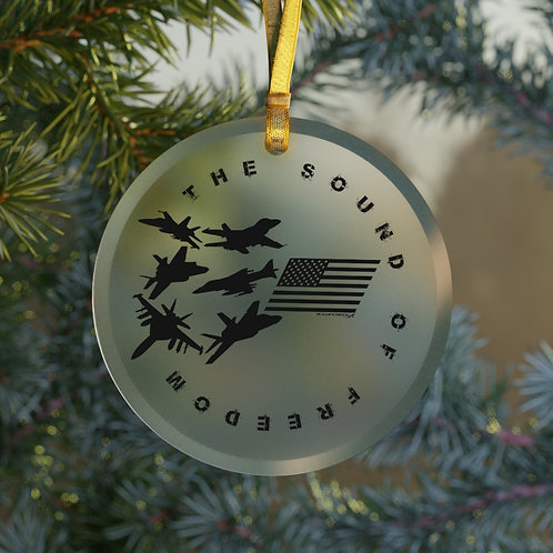THE SOUND OF FREEDOM USN USMC FIGHTERS & ATTACK CHRISTMAS TREE Glass Ornament