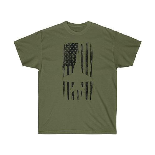 DISTRESSED BLACK PRINT F/A-18 SUPER HORNET US FLAG Heavyweight T-shirt