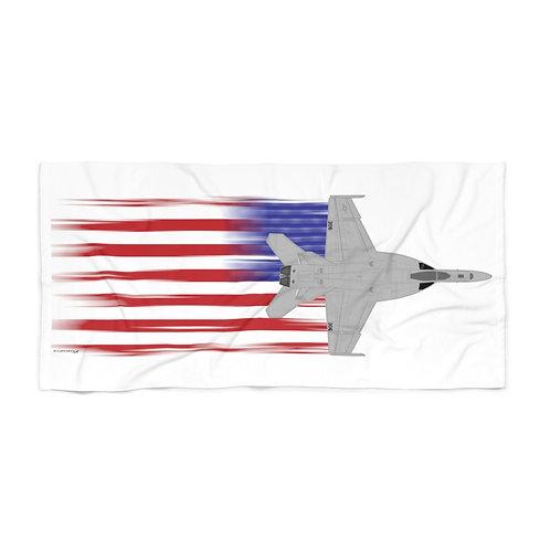 HUGE 3X6 LEFT FACING OR VERTICAL F/A-18E FULL SEND US FLAG Beach Towel